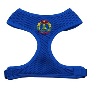 Rainbow Peace Sign Chipper Blue Harness Medium